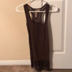 Brown tank with lace